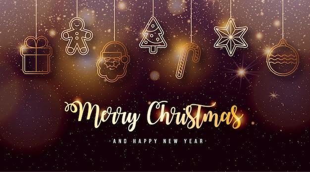Fond De Noël élégant Avec Des éléments De Noël Dorés Vecteur gratuit