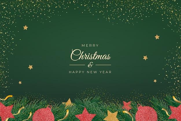 Fond De Noël élégant Vecteur gratuit