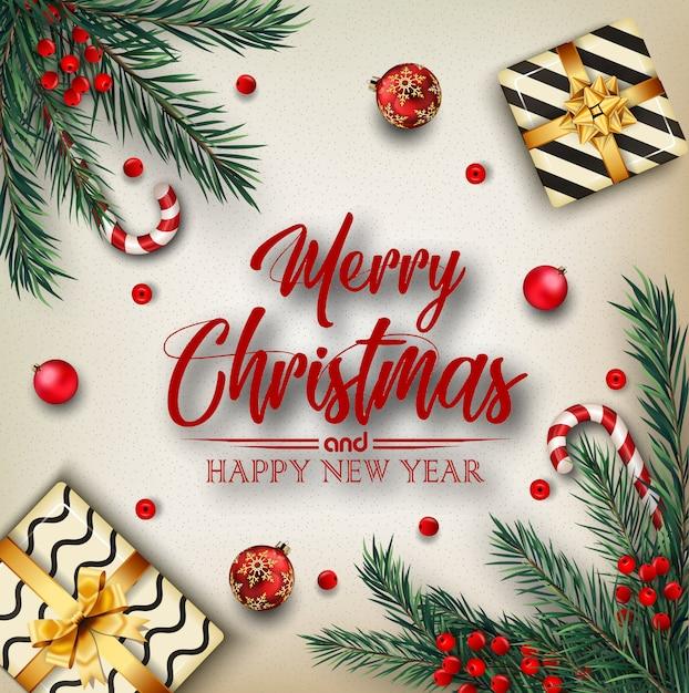 Fond De Noël Avec Des éléments De Noël Vecteur Premium