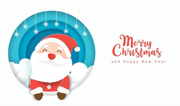 Fond De Noël Avec Un Joli Père Noël Dans Un Style Papier Découpé. Vecteur Premium