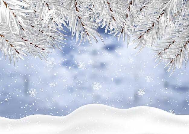 Fond de noël avec neige d'hiver et branches d'arbres Vecteur gratuit