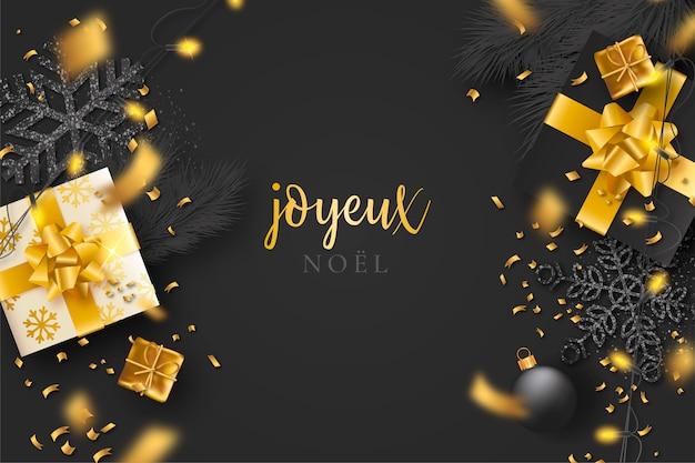 Fond de noël noir avec des confettis et des cadeaux dorés Vecteur gratuit