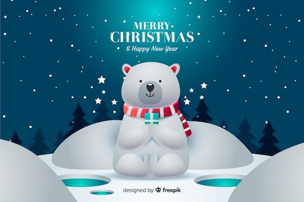 Fond De Noël Avec Ours Mignon Vecteur gratuit