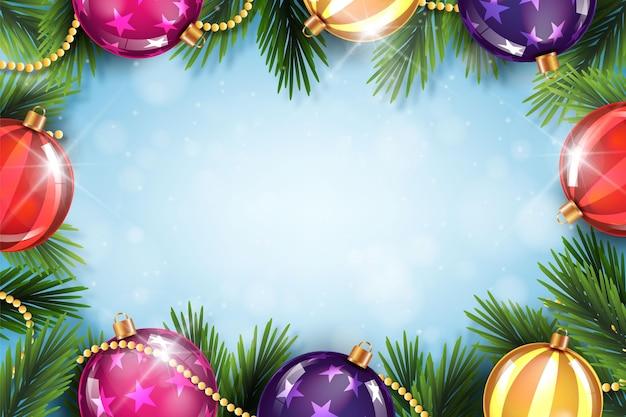 Fond De Noël Réaliste Avec Des Globes Vecteur gratuit