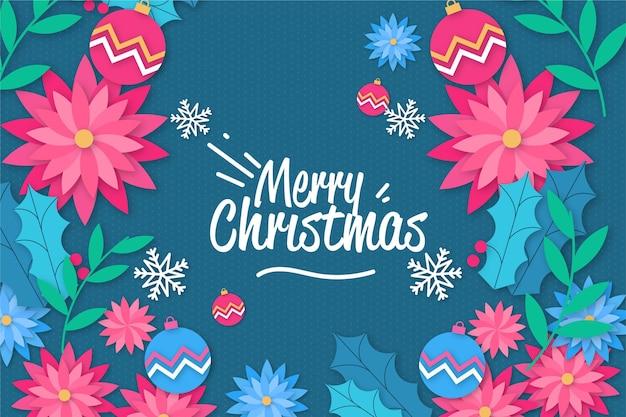 Fond De Noël En Style Papier Avec Des Fleurs Vecteur gratuit