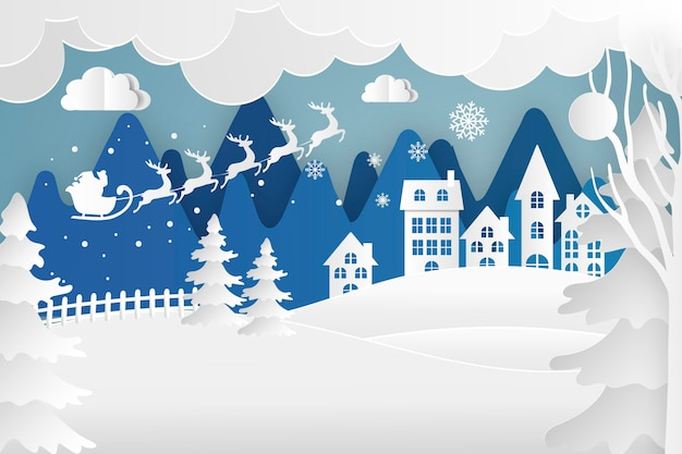Fond De Noël En Style Papier Vecteur gratuit