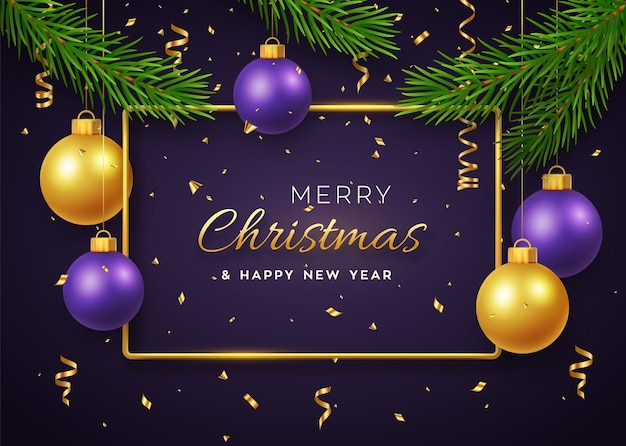Fond De Noël Avec Suspension Brillante Boules Dorées Et Violettes Cadre Métallique Doré Et Branches De Pin Vecteur Premium