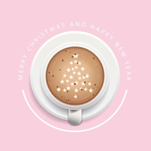Fond de noël avec une tasse de café Vecteur Premium
