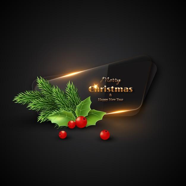 Fond De Noël Avec Verre Transparent. Vecteur Premium