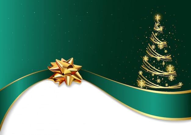Fond De Noël Vert Avec Arc Et Arbre Doré Vecteur Premium
