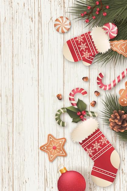 Fond De Noël Vertical Réaliste Avec Des Bonbons Vecteur gratuit