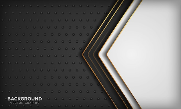 Fond Noir Et Blanc Avec élément De Ligne Dorée Sur Texture Métal Foncé. Fond De Luxe Moderne. Vecteur Premium
