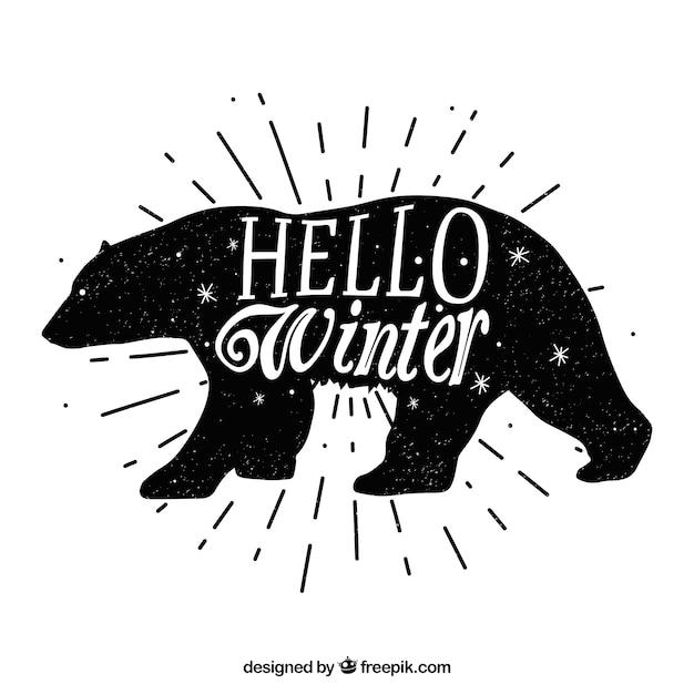 Fond noir et blanc avec un ours Vecteur gratuit