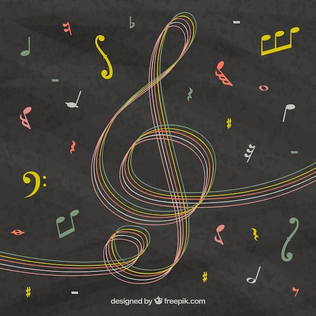 Fond Noir Avec Clef Triple Et Notes Musicales Vecteur gratuit