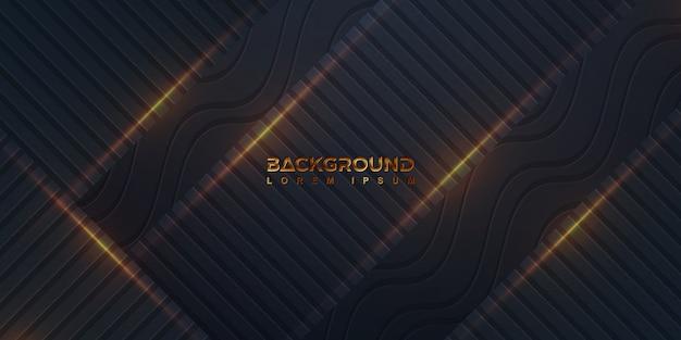 Fond noir avec une combinaison de lignes droites et de lignes ondulées Vecteur Premium