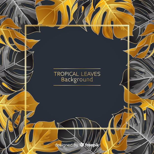 Fond noir et doré de feuilles tropicales Vecteur gratuit