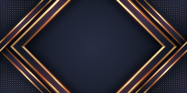 Fond noir et doré de luxe 3d. Vecteur Premium