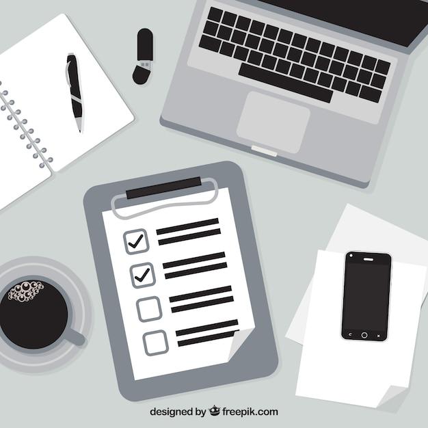 Fond noir et blanc avec la liste de contr le et - Liste fourniture de bureau ...