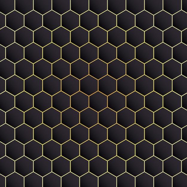 Fond noir hexagonal Vecteur Premium