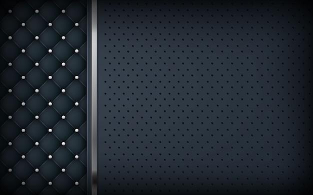 Fond noir de luxe avec texture et liste d'argent Vecteur Premium