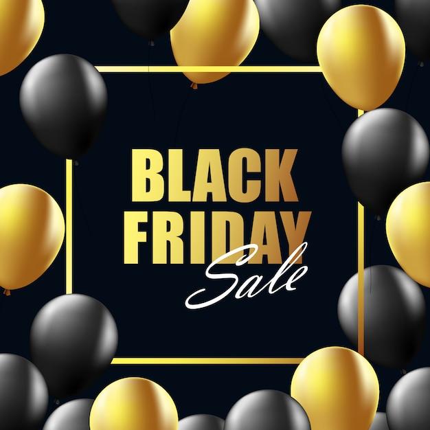 Fond noir mise en page de vente vendredi Vecteur Premium