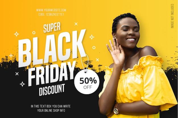 Fond noir moderne vendredi avec splash jaune Vecteur gratuit