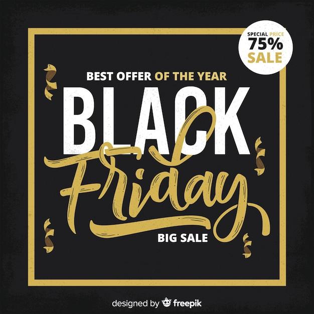 Fond noir vendredi avec cadre doré Vecteur gratuit