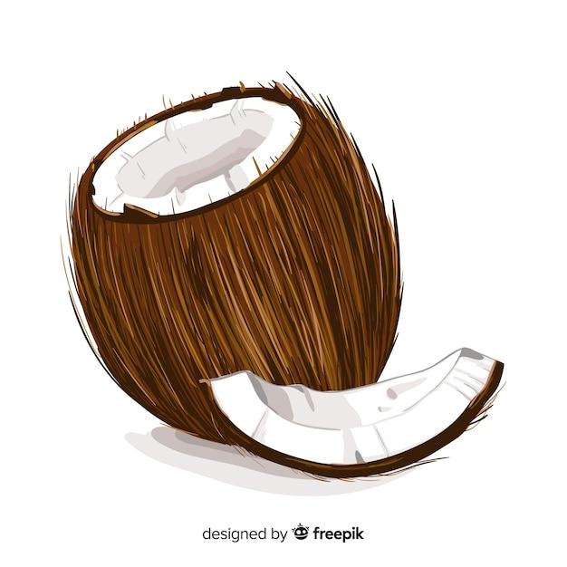 Fond de noix de coco réaliste Vecteur gratuit