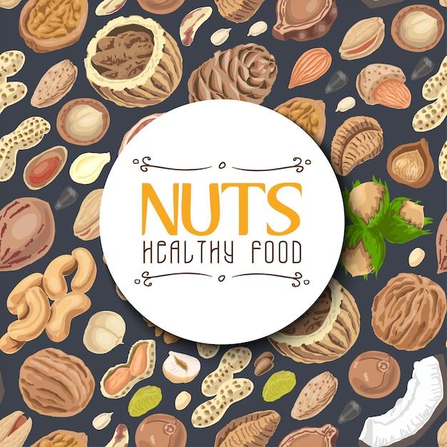 Fond avec des noix et des graines Vecteur Premium