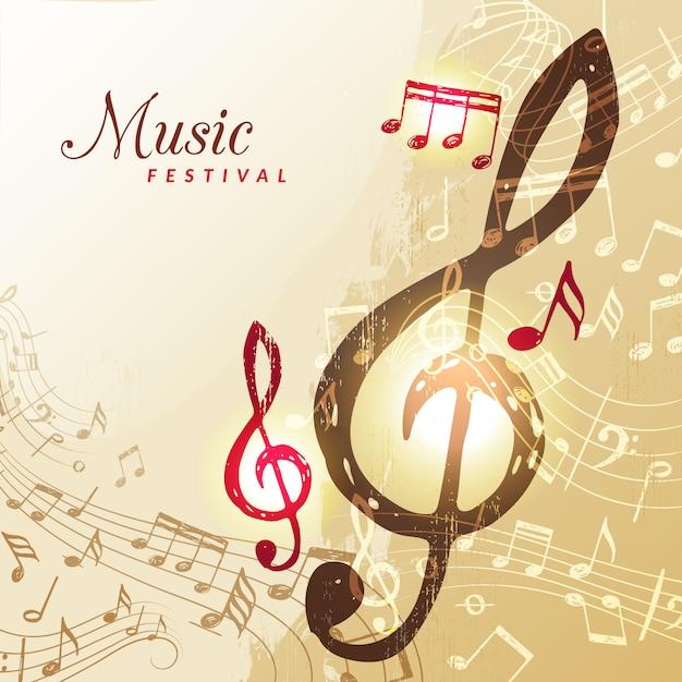 Fond De Notes De Musique. Festival Instrument Chanson Son Portée Portée Clé De Sol Illustration Vecteur Premium