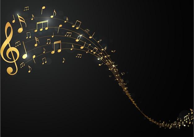 Fond de notes de musique d'or Vecteur Premium