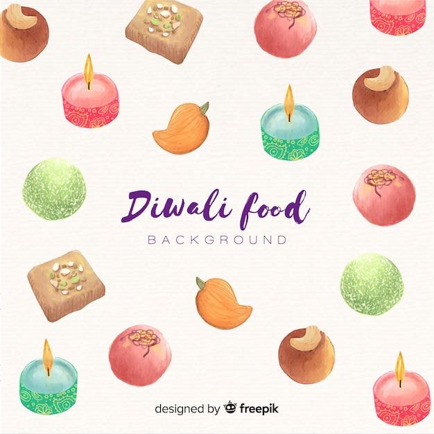 Fond de nourriture aquarelle diwali Vecteur gratuit