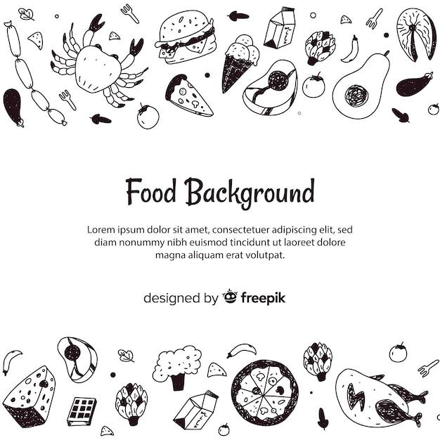 Fond de nourriture dessiné à la main Vecteur gratuit
