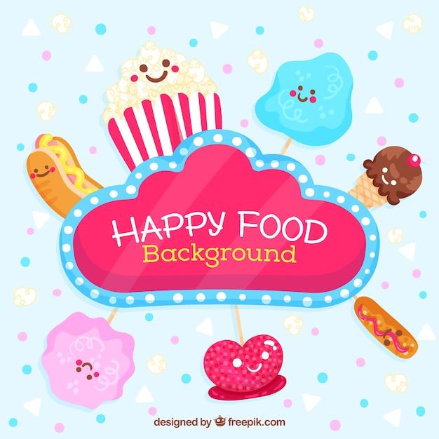 Fond de nourriture heureuse avec des dessins animés mignons Vecteur gratuit