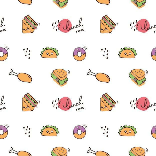 Fond De Nourriture Mignon Icône Doodle Vecteur Premium