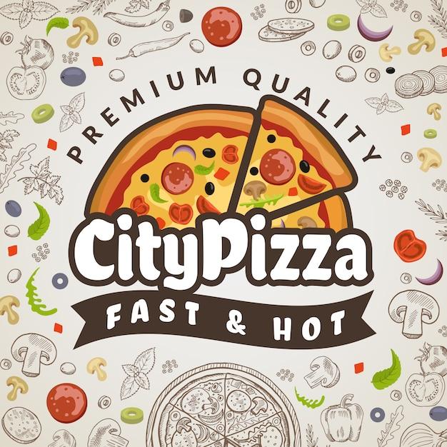 Fond De Nourriture De Pizza. Logotype De Pizzeria Colorée De Menu De Cuisine Italienne Pour Le Modèle D'affiche Vecteur Premium