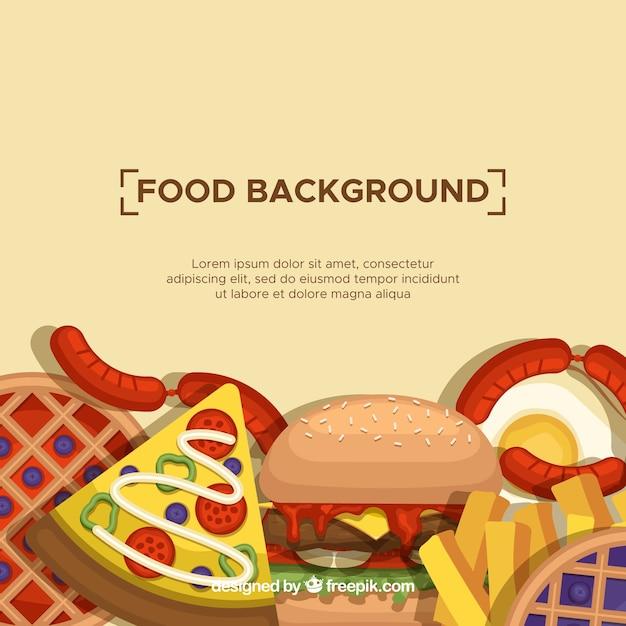 Fond Avec De La Nourriture Rapide Vecteur gratuit
