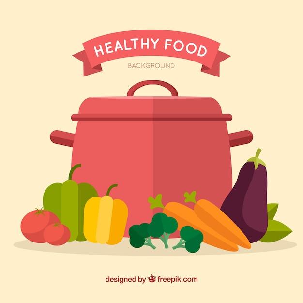 Fond de nourriture saine avec un design plat Vecteur gratuit