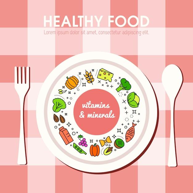 Fond de nourriture saine représentant. icônes de fruits et légumes Vecteur gratuit