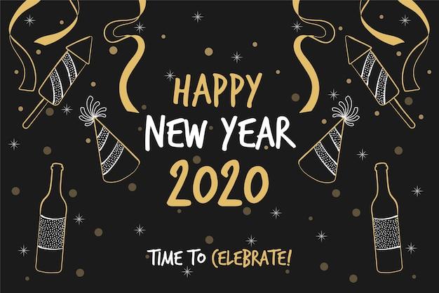 Fond de nouvel an 2020 dessiné à la main Vecteur gratuit