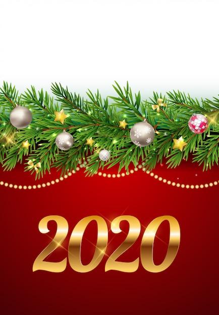 Fond de nouvel an 2020. Vecteur Premium