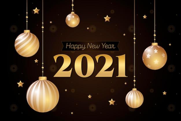 Fond De Nouvel An 2021 Avec Décoration Dorée Réaliste Vecteur gratuit