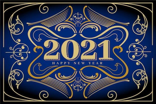 Fond De Nouvel An 2021 Vintage Vecteur gratuit
