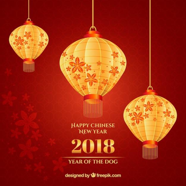 Fond de nouvel an chinois avec des lanternes brillantes Vecteur gratuit