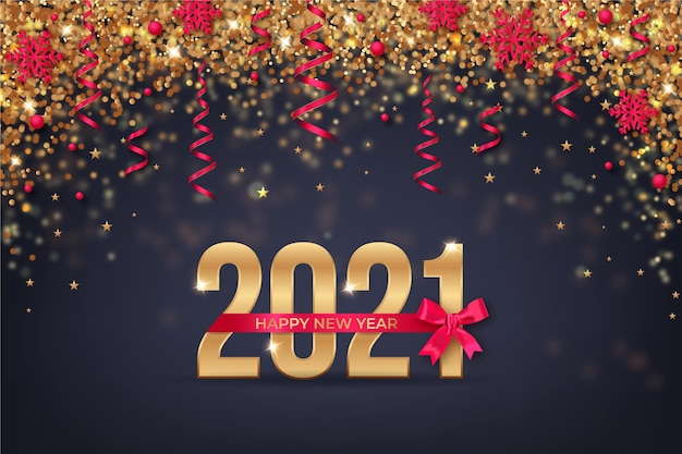 Fond De Nouvel An Doré 2021 Vecteur Premium