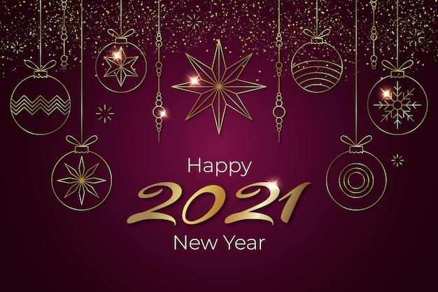 Fond De Nouvel An Doré 2021 Vecteur gratuit