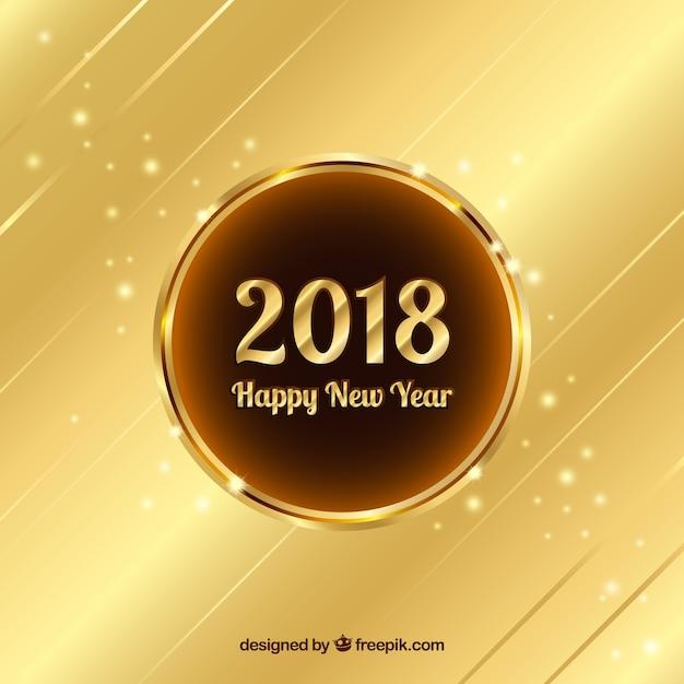 Fond De Nouvel An En Or 2018 Vecteur gratuit