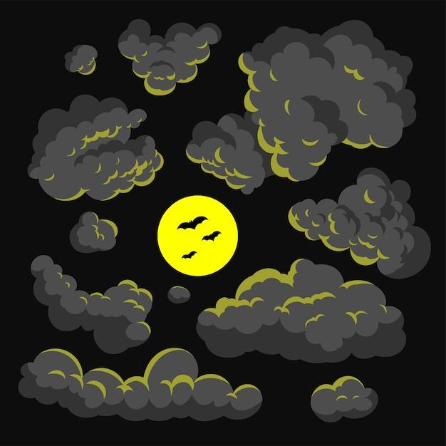 Fond de nuage sombre dessin animé style vector illustration Vecteur Premium