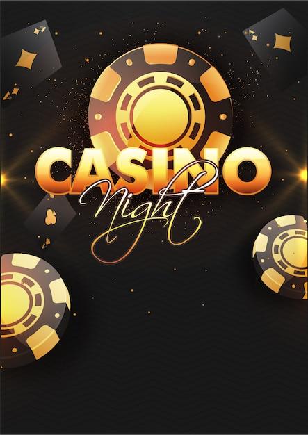 Fond de nuit de casino avec des jetons de poker. Vecteur Premium