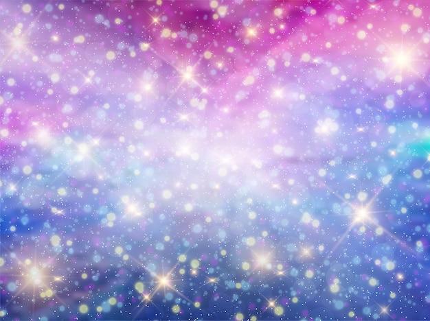Fond de nuit ciel fantaisie galaxie fantaisie Vecteur Premium